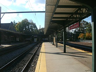 Chestnut Hill East Line - The Chestnut Hill East station as seen in October 2012. The station depot, constructed by the Reading Company, is visible on the left.