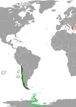 Map indicating locations of Chile and Greece