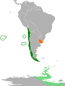 Map indicating locations of Chile and Uruguay