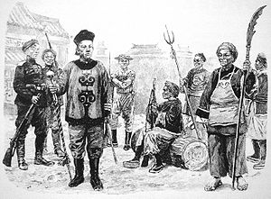 Eight Banners - Chinese soldiers in Boxer Rebellion, the left one is Bannerman