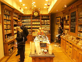 Belgian chocolate - The interior of a typical chocolate shop in Brussels
