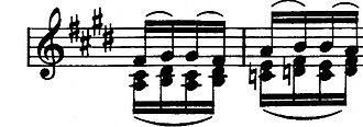 "Étude Op. 10, No. 3 (Chopin) - Bars 4–5 developed in ""Debussian manner"" by Alfredo Casella"
