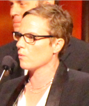 "Chris Nee - Nee pictured accepting the Peabody for ""Doc McStuffins"""