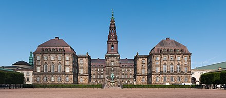 Christiansborg Palace houses the Folketing, the Supreme Court, and Government offices. Christiansborg Slot Copenhagen 2014 01.jpg