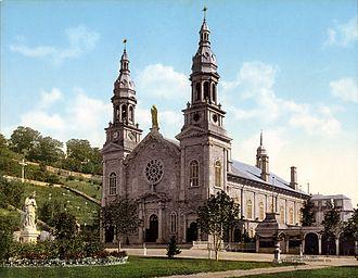 Basilica of Sainte-Anne-de-Beaupré - 1901 photochrom print of original church