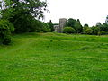 Clavering Essex, view from castle mound to church.JPG