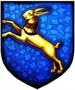 John Clevland (1706–1763) - Arms of Clevland of Tapeley: Azure, a hare salient or collared gules pendent therefrom a bugle horn stringed sable. Detail from memorial stained glass window to Archibald Clevland (1833–1854), Westleigh Church