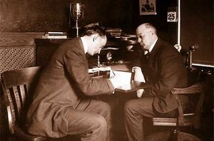 Frank Navin - Ty Cobb and Frank Navin pose as Cobb signs a $5000 ($129,333 in 2012) contract for 1908 after Cobb's bitter holdout.