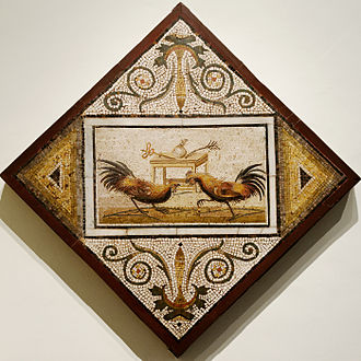 Poultry - Roman mosaic depicting a cockfight