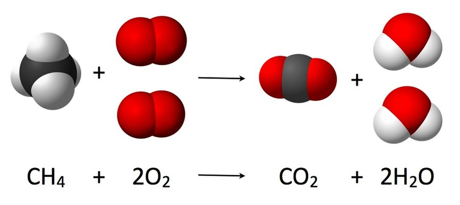 As seen from the equation CH 4 + 2 O 2 - CO 2 + 2 H 2O, a coefficient of 2 must be placed before the oxygen gas on the reactants side and before the water on the products side in order for, as per the law of conservation of mass, the quantity of each element does not change during the reaction Combustion reaction of methane.jpg