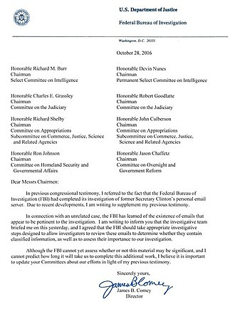 James Comey - Comey's October letter
