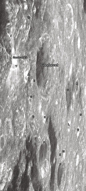 """Condorcet (crater) - Condorcet crater and its satellite craters taken from Earth in 2012 at the University of Hertfordshire's Bayfordbury Observatory with the telescopes Meade LX200 14"""" and Lumenera Skynyx 2-1"""