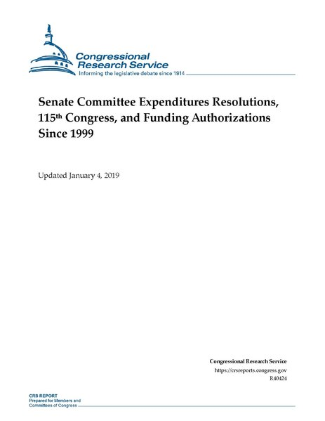 File:Congressional Research Service Report R40424 - Senate Committee Expenditures Resolutions, 115th Congress, and Funding Authorizations Since 1999.pdf
