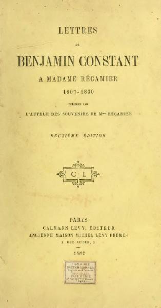 File:Constant - Lettres à Mme Récamier, 1882.djvu