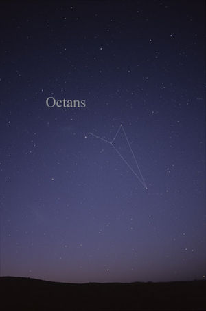 Octans - The constellation Octans as it can be seen by the naked eye.