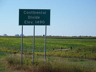 Interstate 94 in North Dakota - Continental Divide sign, westbound on I-94