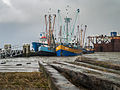 Cooped up Fishing ships in the harbour of Lauwersoog during the 5-6 december 2013 storm 01.jpg