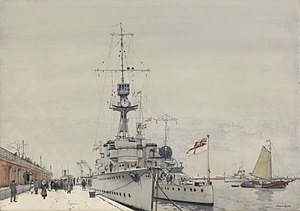 Copenhagen December 1918 - 'hms Concord' and 'hms Cardiff' alongside the 'langelinie' Art.IWMART2690.jpg