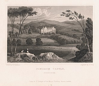Fingask Castle - Image: Copper plate engraving of Fingask Castle, Perthshire. Engraved by John Greig after Henry Gastineau. c. 1830