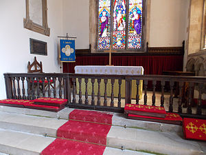 Altar rails - English 17th-century wooden rails at Saint John's Church