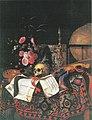 Cornelis Norbertus Gijsbrechts - Vanitas still life with bouquet of flowers, painters palette, globe, violin and acorn cup.jpg