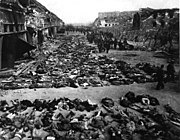 Corpses in the courtyard of Nordhausen concentration camp