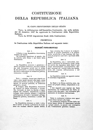 Constitution of Italy - One of three original copies, now in the custody of Historical Archives of the President of the Republic.