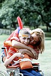 Counselor and camper hugging, Camp La Junta · DF-ST-82-08376.jpeg