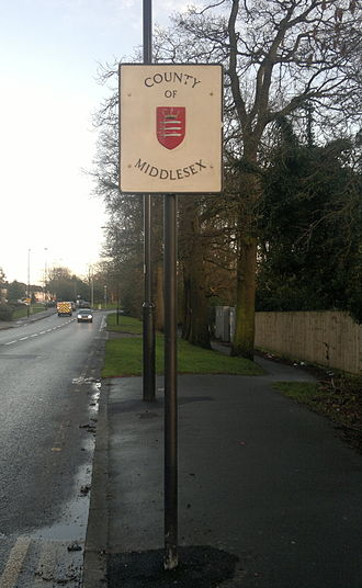 Middlesex - County of Middlesex sign in 2014, on the border between the London Boroughs of Barnet and Enfield.