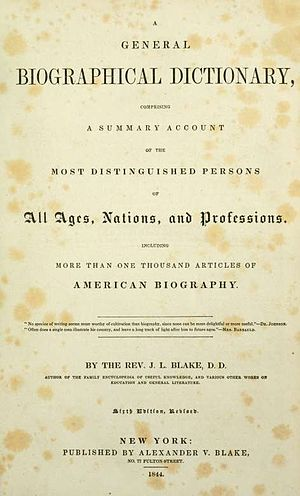 John Lauris Blake's General Biographical Dictionary - The cover of the first edition of the book.