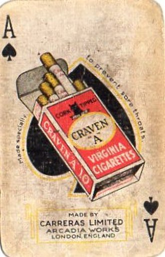"Carreras Tobacco Company - Vintage Craven ""A"" branded playing card, a brand of Carreras Tobacco Company (This can be dated to post-1928, as it mentions the Arcadia Works)."