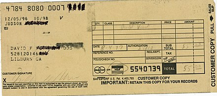 Receipt from 1997 - card physically swiped and information imprinted on the receipt Credit card receipt - old style.jpg