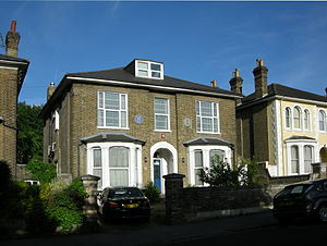 Frederick G. Creed - Creed's home at 20, Outram Road, Addiscombe, where he lived in later life, marked with a blue plaque.