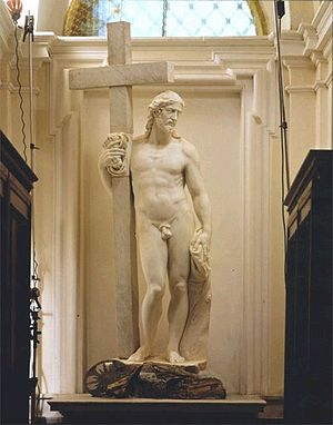 Risen Christ (Michelangelo, Santa Maria sopra Minerva) - The first version, finished by a later artist.
