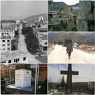 Croat–Bosniak War - Clockwise from top right: remains of Stari Most in Mostar, replaced with a cable bridge; French IFOR Artillery Detachment, on patrol near Mostar; a Croat war memorial in Vitez; a Bosniak war memorial in Stari Vitez; view of Novi Travnik during the war