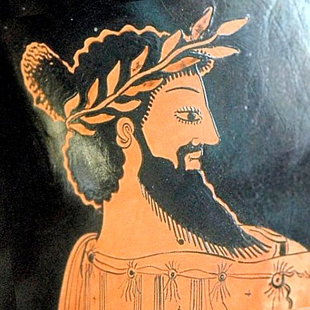 Portrait of Croesus, last King of Lydia, Attic red-figure amphora, painted ca. 500-490 BC. Croesus portrait.jpg