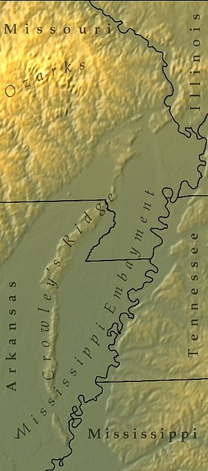 Crowley's Ridge - Crowley's Ridge runs through the Mississippi embayment in this shaded-relief map.
