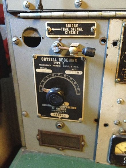 Crystal radio used as a backup receiver on a World War II Liberty ship Crystal radio backup on SS Jeremiah O'Brien.agr.jpg