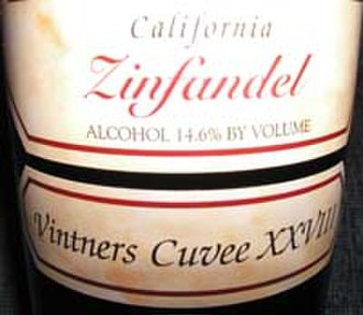 "Cuvée - Example of a label on a bottle of Zinfandel indicating ""Cuvee XXVIII"" (28)"