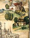 Älteste Darstellung der Waldmannsburg in Gerold Edlibachs Wappenbuch von 1489