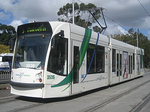 Melbourne tram route 5 - D1 class tram at The Arts Centre in November 2007