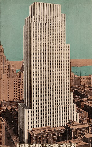 Colorized postcard image of the Daily News Bui...