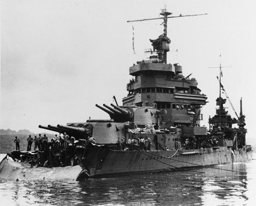 USS Minneapolis at Tulagi with torpedo damage