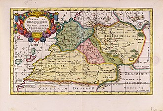 Draa River - Map of Southern Morocco, 1705, by Nicolaas Sanson (Province of Darha/Draa with pink borders in the middle of the map)