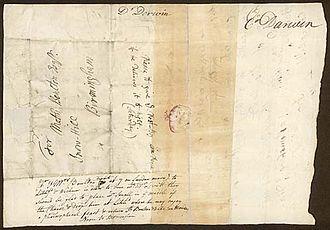 John Levett - Letter from Erasmus Darwin to Matthew Boulton requesting Boulton bring along fellow member of the Lunar Society William Small on his visit to member John Levett at Wychnor, 1766