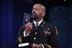 David Clarke (sheriff) - Clarke holding up a copy of the United States Constitution
