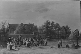 Peasants Dancing outside a Country House