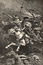 Gravure intitulée Les Huns à la bataille de Chalons, œuvre exécutée par Alphonse de Neuville (1836–1885) au cours du XIXesiècle.