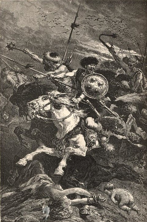19th-century portrayal of the Huns as barbarians by A. De Neuville.