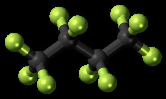 Perfluorobutane - Image: Decafluorobutane 3D ball
